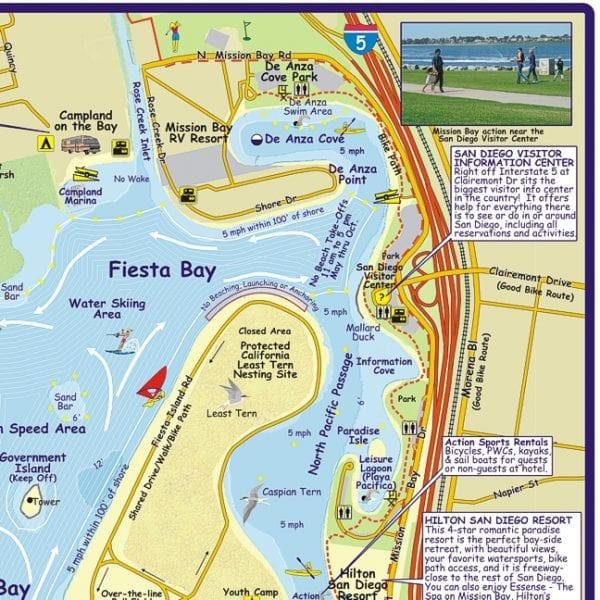 Map Folded Mission Bay Boating