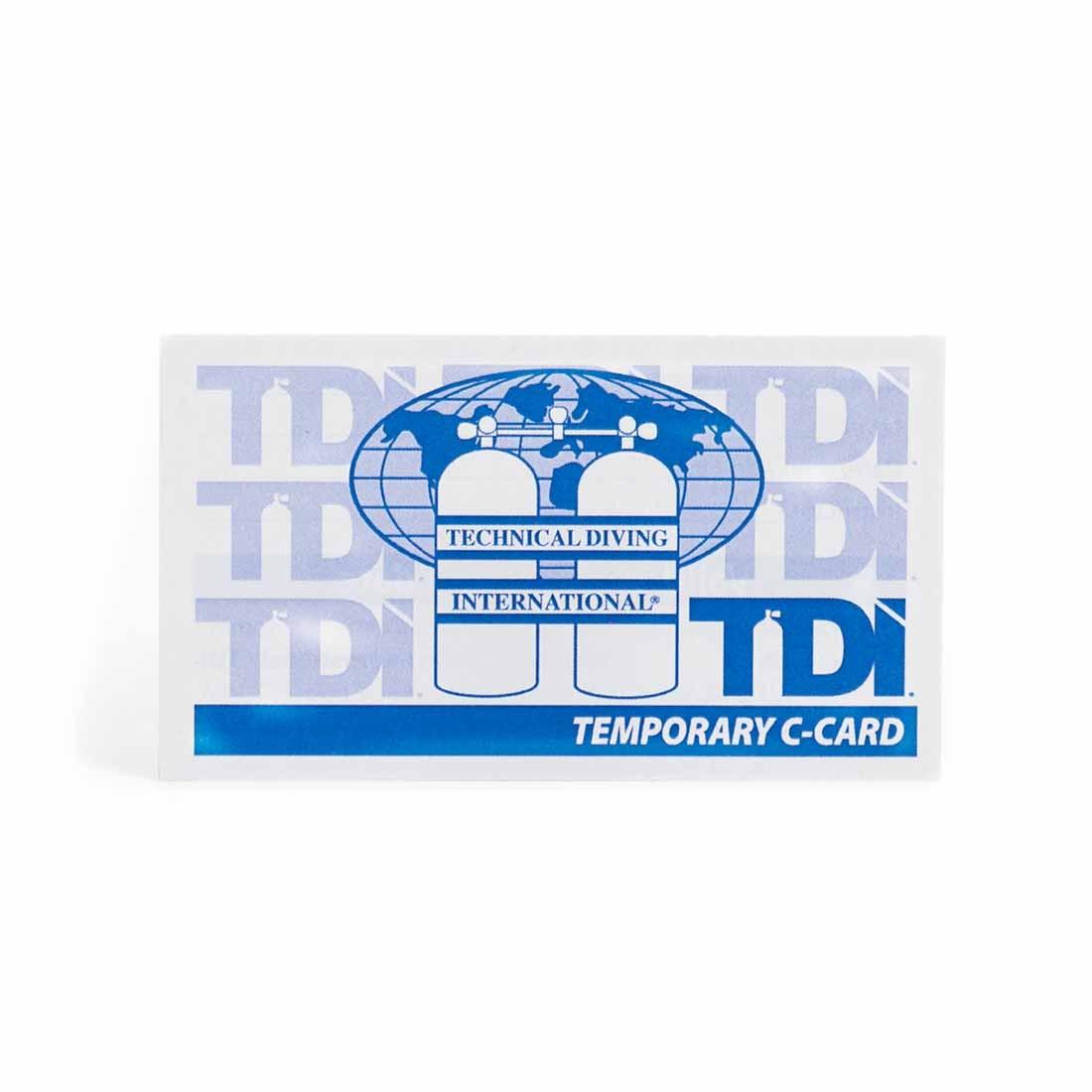 Tdi Temporary Card Saguaro Scuba