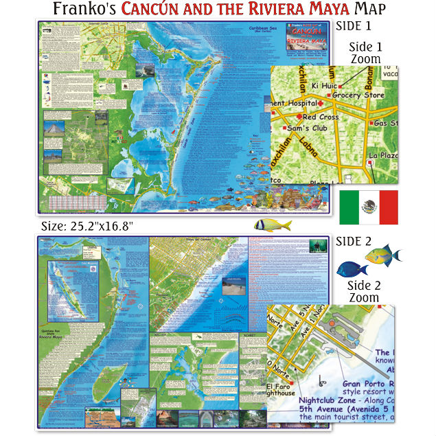 Franko Cancun and Riviera Maya Dive Map - Saguaro Scuba