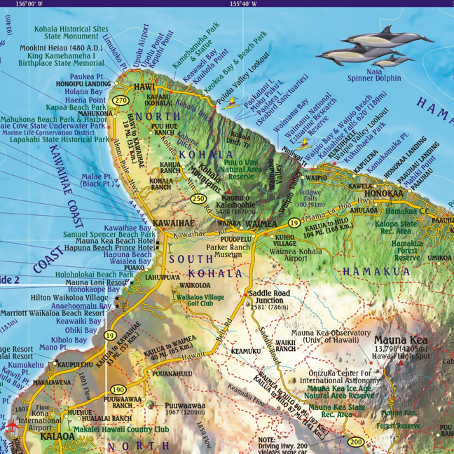 Franko Hawaii Dive Map, The Big Island   Saguaro Scuba